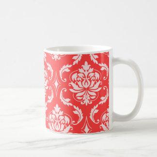 Coral Red Classic Damask Pattern Basic White Mug