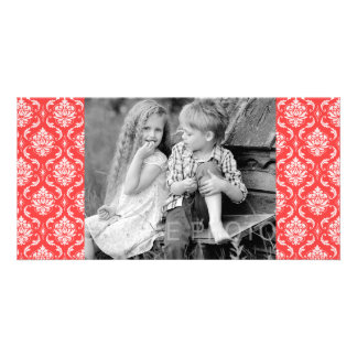 Coral Red Classic Damask Pattern Customized Photo Card