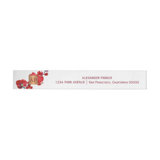 Coral red floral metallic copper monogrammed wraparound address label