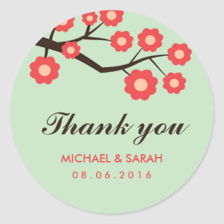 Coral Red Floral Wedding Favor Thank You Sticker