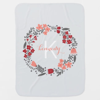 Coral Red Grey Monogram Baby Blanket