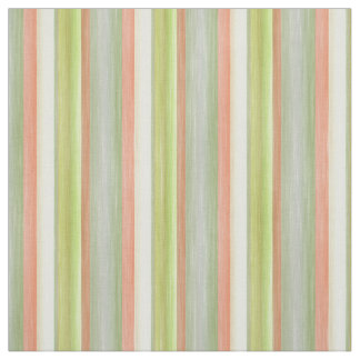 Coral Red Lime Green Watercolor Stripes Pattern Fabric
