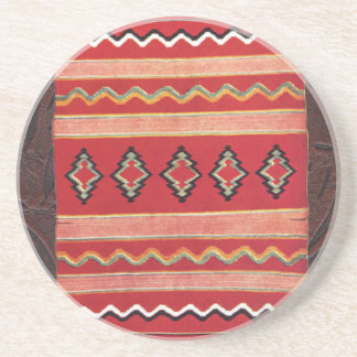 Coral Red Native American Indian Blanket Coasters