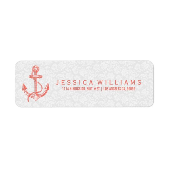 Coral-red Nautical Boat Anchor & Stripes Return Address Label