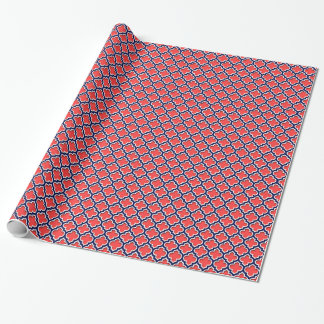 Coral Red, Navy White Moroccan Quatrefoil #5DS Wrapping Paper