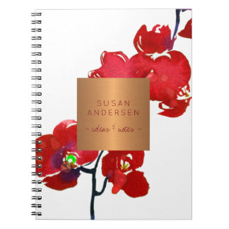 Coral red orchid elegant copper metallic label notebook