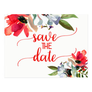 Coral Red Poppy Floral Wedding Save the Date Postcard