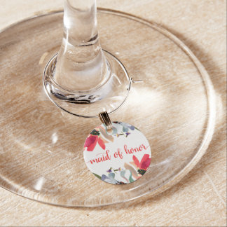 Coral Red Poppy Watercolor Floral Maid of Honor Wine Charm