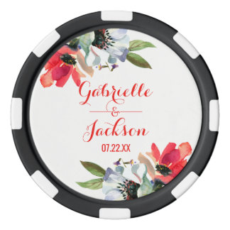 Coral Red Poppy Watercolor Floral Wedding Favor Poker Chips