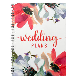 Coral Red Poppy Watercolor Floral Wedding Planner Spiral Notebook