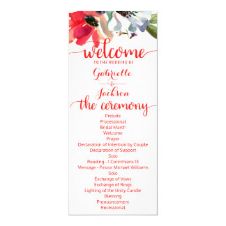 Coral Red Poppy Watercolor Floral Wedding Program