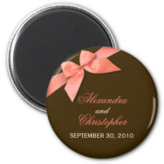 Coral Red Ribbon Save The Date Wedding Announce 6 Cm Round Magnet