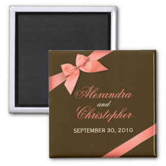 Coral Red Ribbon Save The Date Wedding Announce Square Magnet