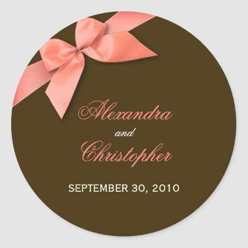 Coral Red Ribbon Wedding Invitation Announcement Round Stickers