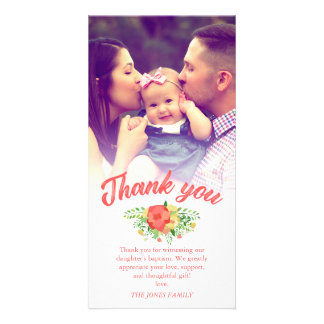 Coral Red Spring Bouquet Baptism Thank You Photo Personalized Photo Card