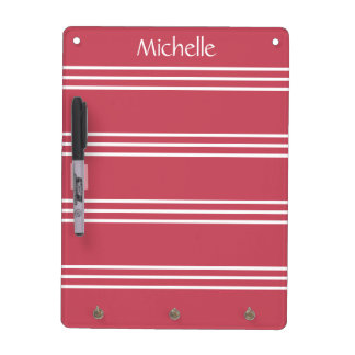 Coral Red Stripes custom monogram message board Dry Erase Whiteboard
