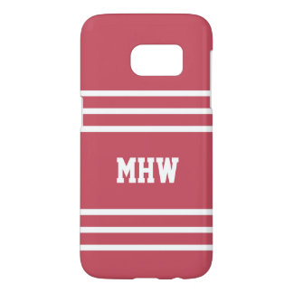 Coral Red Stripes custom monogram phone cases