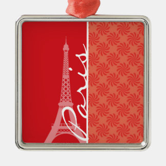 Coral & Red Swirl; Paris Christmas Tree Ornament