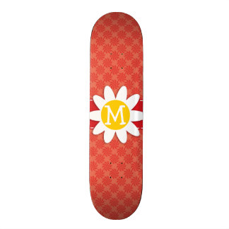 Coral Red Swirl Spring Flower Skate Boards