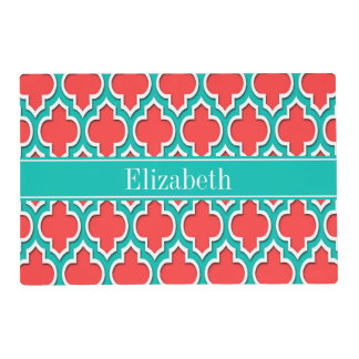 Coral Red, Teal Moroccan #4DS Teal Name Monogram Laminated Placemat