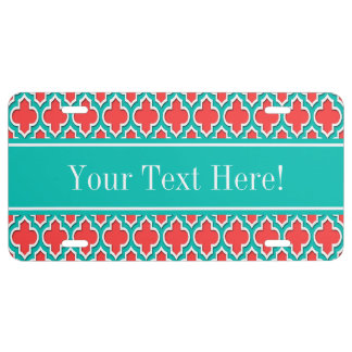 Coral Red, Teal Moroccan #4DS Teal Name Monogram License Plate