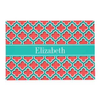 Coral Red, Teal Moroccan #5DS Teal Name Monogram Laminated Placemat