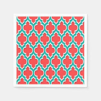 Coral Red Teal White Moroccan Quatrefoil #4DS Disposable Serviette