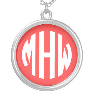 Coral Red White 3 Initials in a Circle Monogram Jewelry