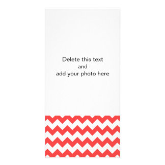 Coral Red White Chevron Pattern Customised Photo Card