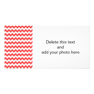 Coral Red White Chevron Pattern Personalized Photo Card