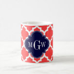 Coral Red Wht Moroccan #5 Navy 3 Initial Monogram