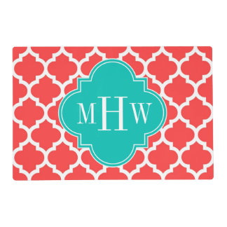 Coral Red Wht Moroccan #5 Teal 3 Initial Monogram Laminated Place Mat