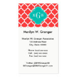 Coral Red Wht Moroccan #5 Teal 3 Initial Monogram Pack Of Standard Business Cards