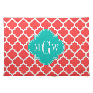 Coral Red Wht Moroccan #5 Teal 3 Initial Monogram Placemats