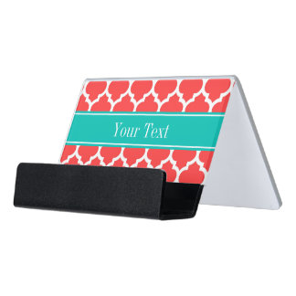 Coral Red Wht Moroccan #5 Teal Name Monogram Desk Business Card Holder