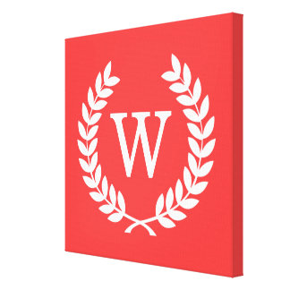 Coral Red Wht Wheat Laurel Wreath Initial Monogram Gallery Wrapped Canvas
