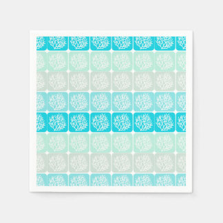 Coral reef aqua blue, mint sand square patterns disposable napkin