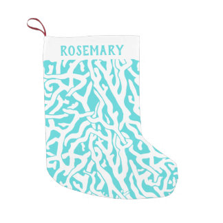 Coral Reef Aqua Blue White Pretty Beach Tropical Small Christmas Stocking