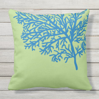 Coral Reef beach blue lime green Throw Pillow