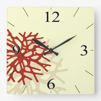 Coral Reef Beach Tropical Island Square Wall Clock