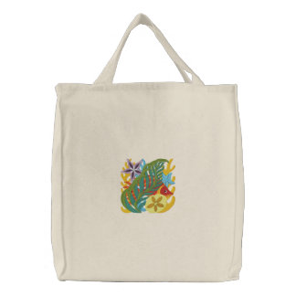 Coral Reef Fish Embroidered Tote Bag