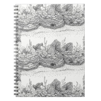 Coral reef ink illustration spiral notebook