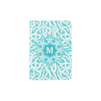 Coral Reef Nautical Starfish Monogram | Aqua Blue Passport Holder