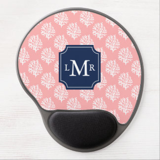 Coral Reef Pattern and Blue Monogram Gel Mouse Pad