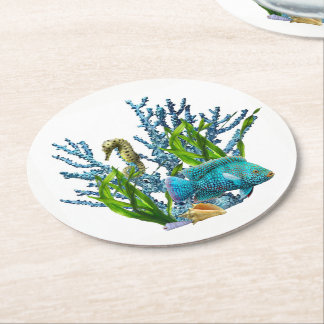 Coral Reef Round Paper Coaster