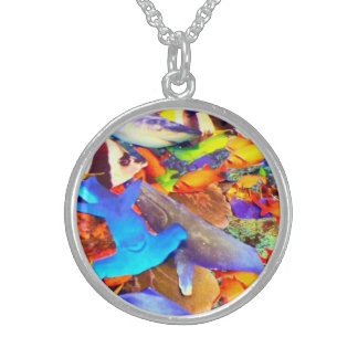 coral reef round pendant necklace