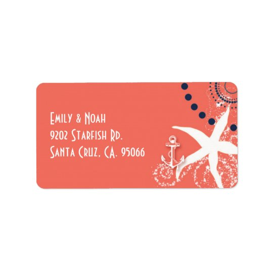 Coral Reef Starfish Nautical Wedding Address Label