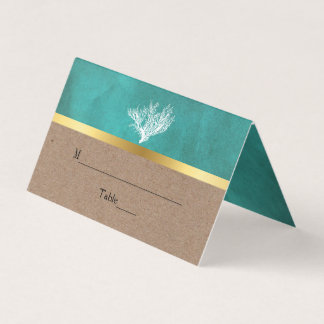 Coral reef teal sand beach wedding folded escort place card