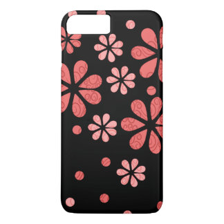 Coral  Retro Flowers On Black iPhone 8 Plus/7 Plus Case