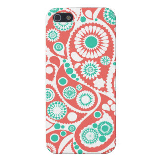 Coral Retro Paisley Pattern iPhone 5 Cover
